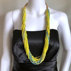 """Yellow Turquoise Statement Necklace 17"""" Seed Bead"""